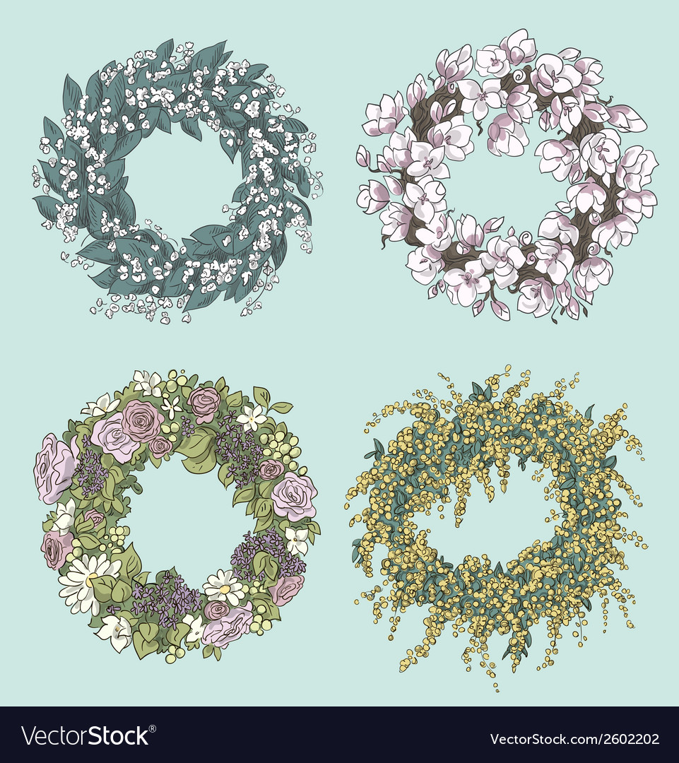 Wreaths drawing flowers decoration vector