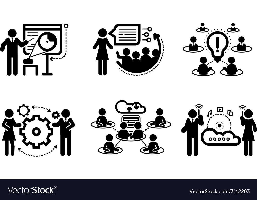 Business presentation teamwork concept icons vector