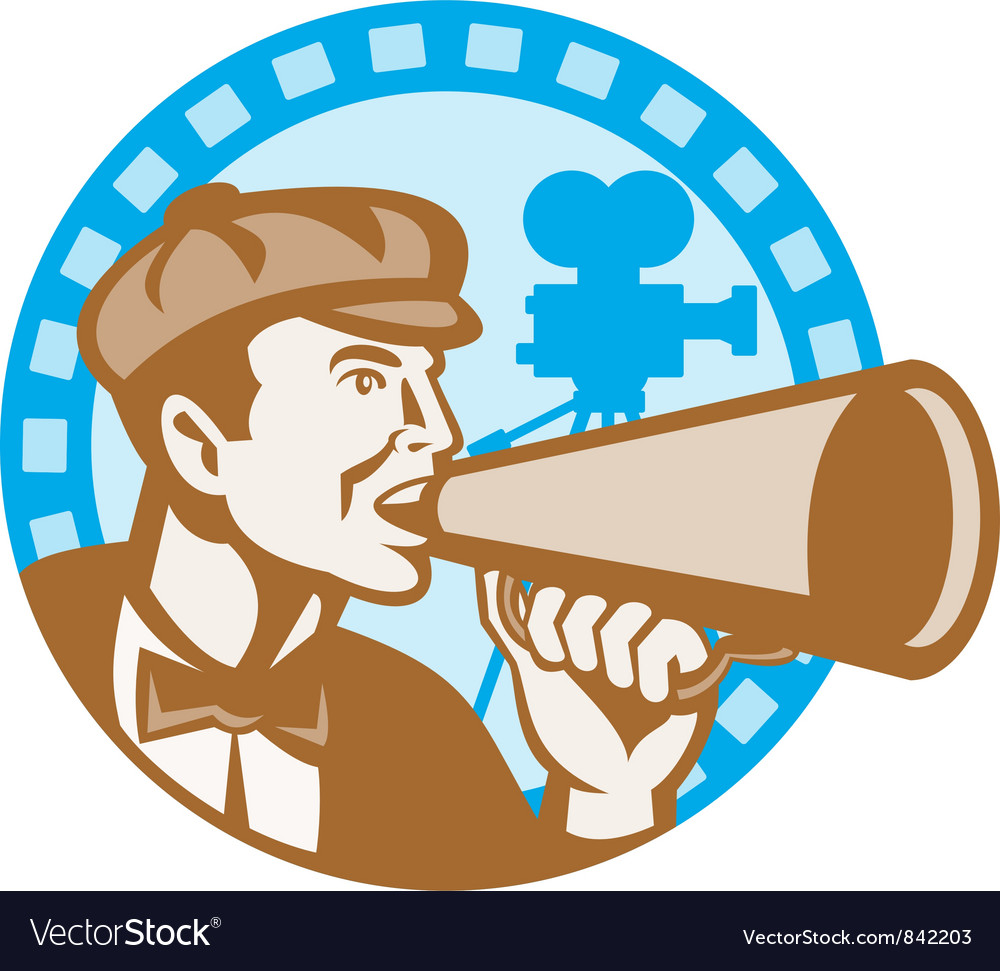 Movie film director with bullhorn and camera retro vector