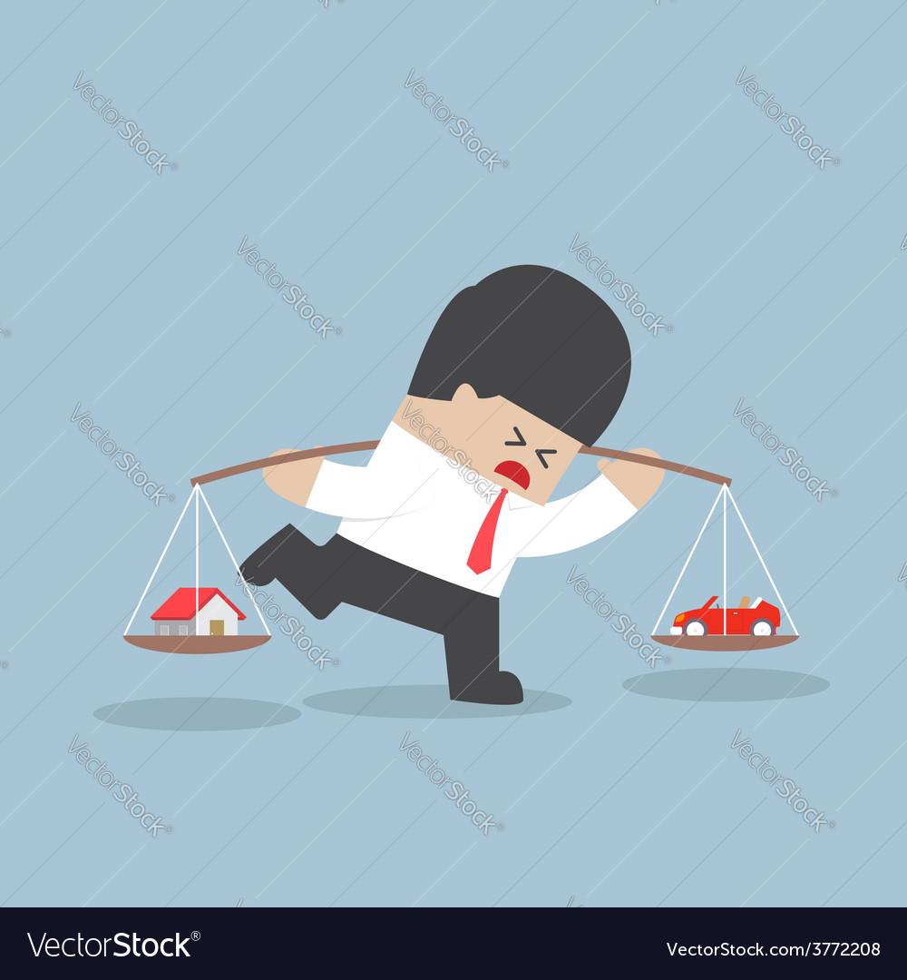 Businessman carrying house and car on his shoulder vector