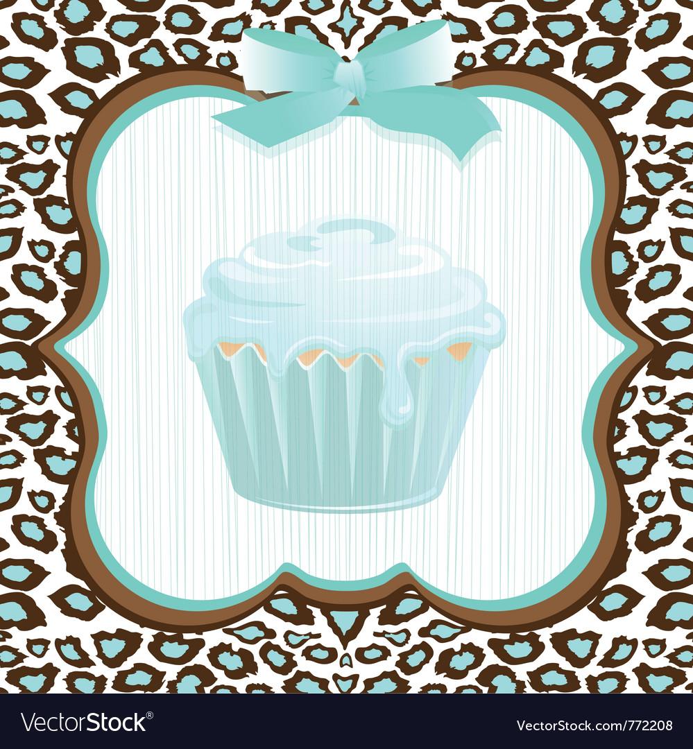 Cupcake birthday invitation vector