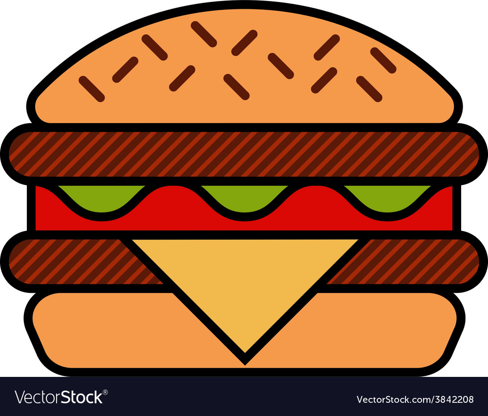 Hamburger icon with meat lettuce cheese and vector