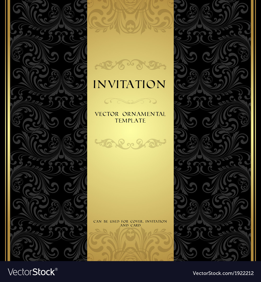Black and gold ornamental invitation card vector