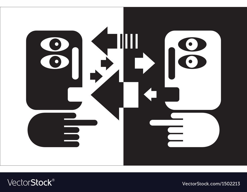 Black and white conversation vector