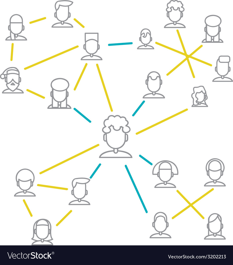 Men and women connecting together via social vector