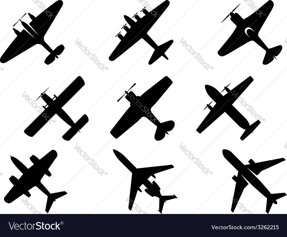 Black aircraft silhouette icons vector