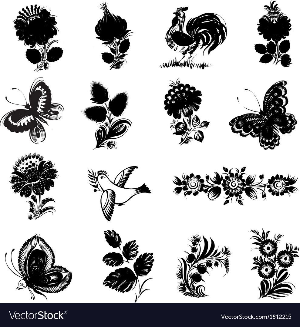 Set of black silhouette vector