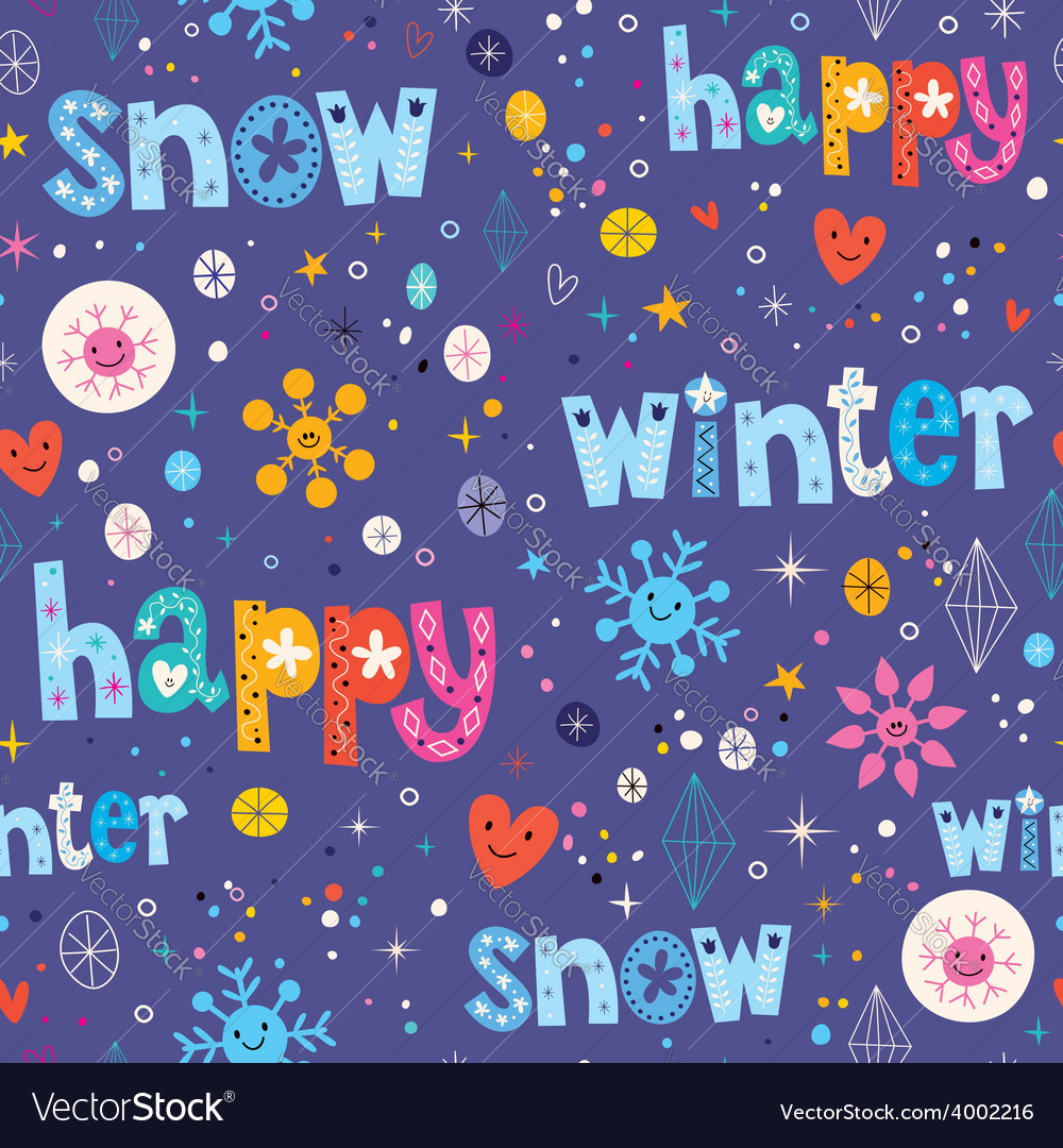 Happy winter snow seamless pattern vector
