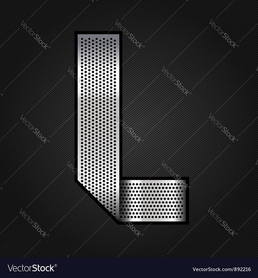 Letter metal chrome ribbon - l vector