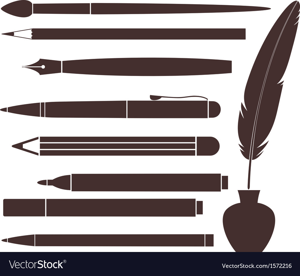 Pencil pen brush felt pen feather vector