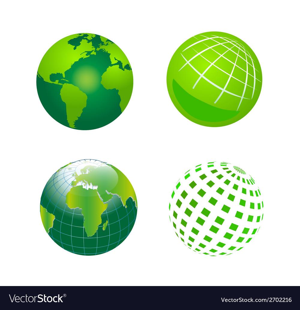 Set of green globe icons vector