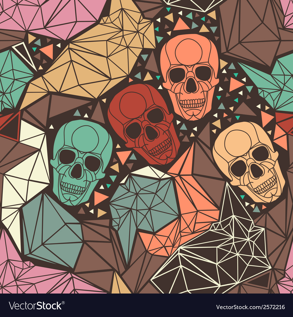 Skull with geometric polygonal ornament vector