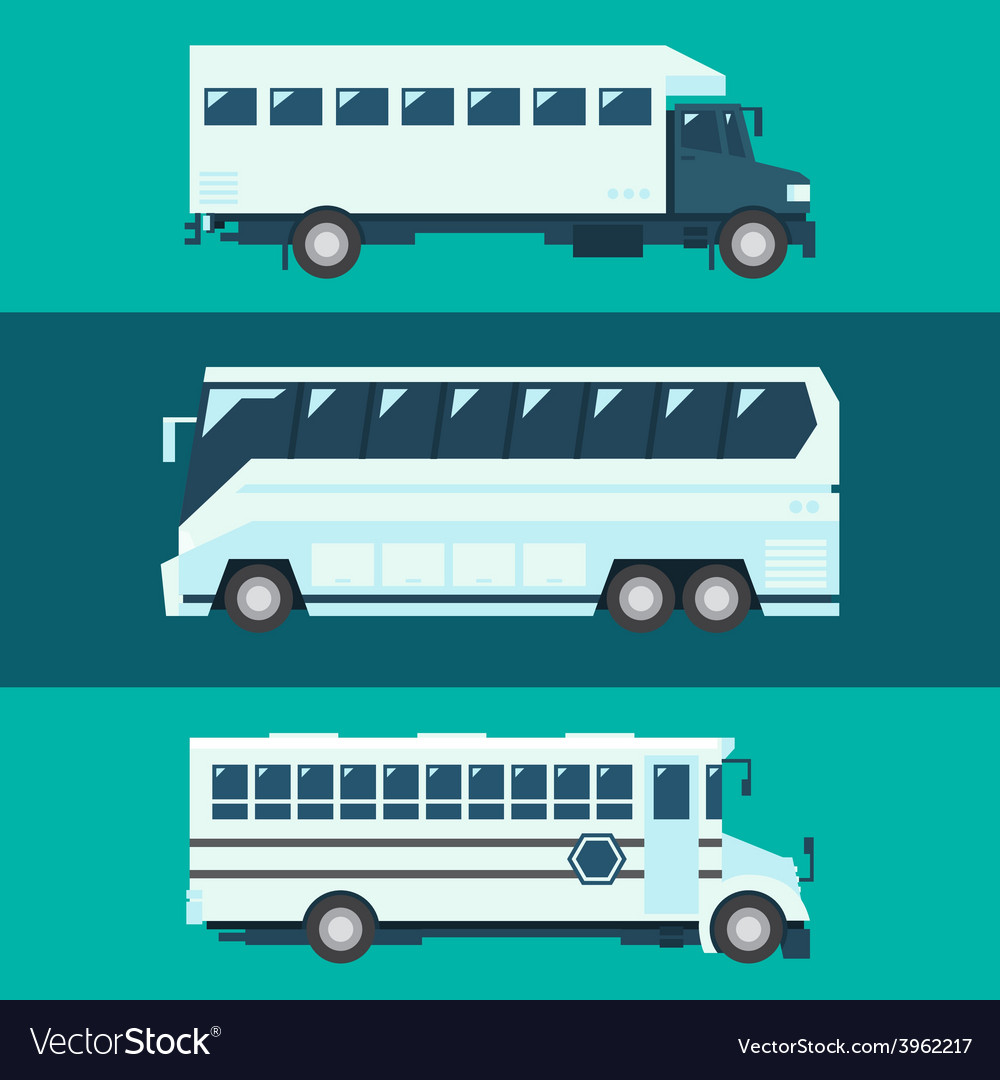 Flat design of passenger bus set vector