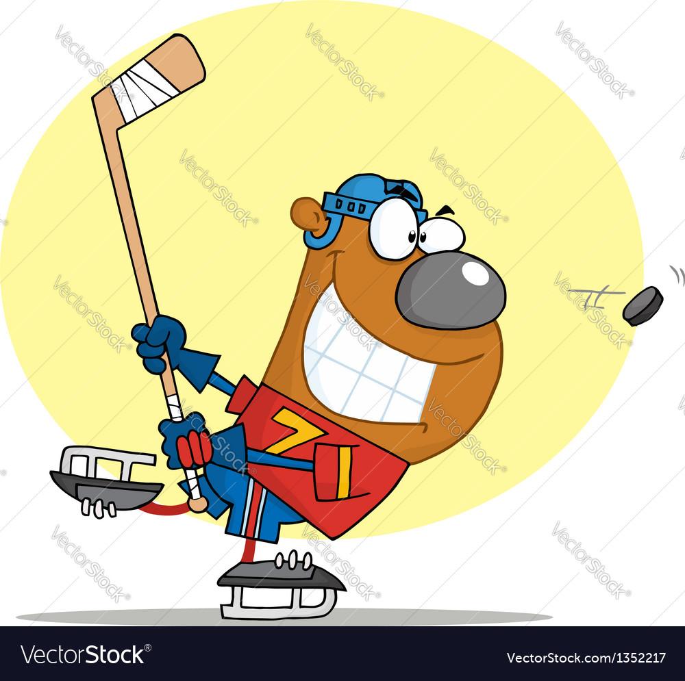 Sporty bear playing ice hockey vector