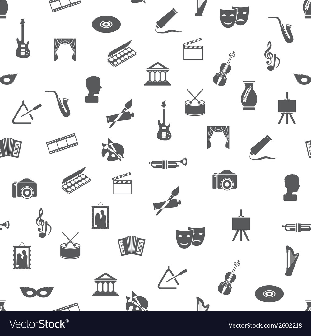 Art and culture seamless pattern vector