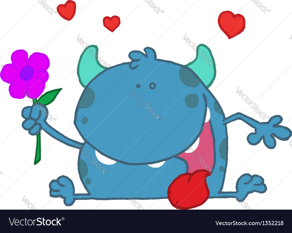 Happy blue monster holding a flower vector