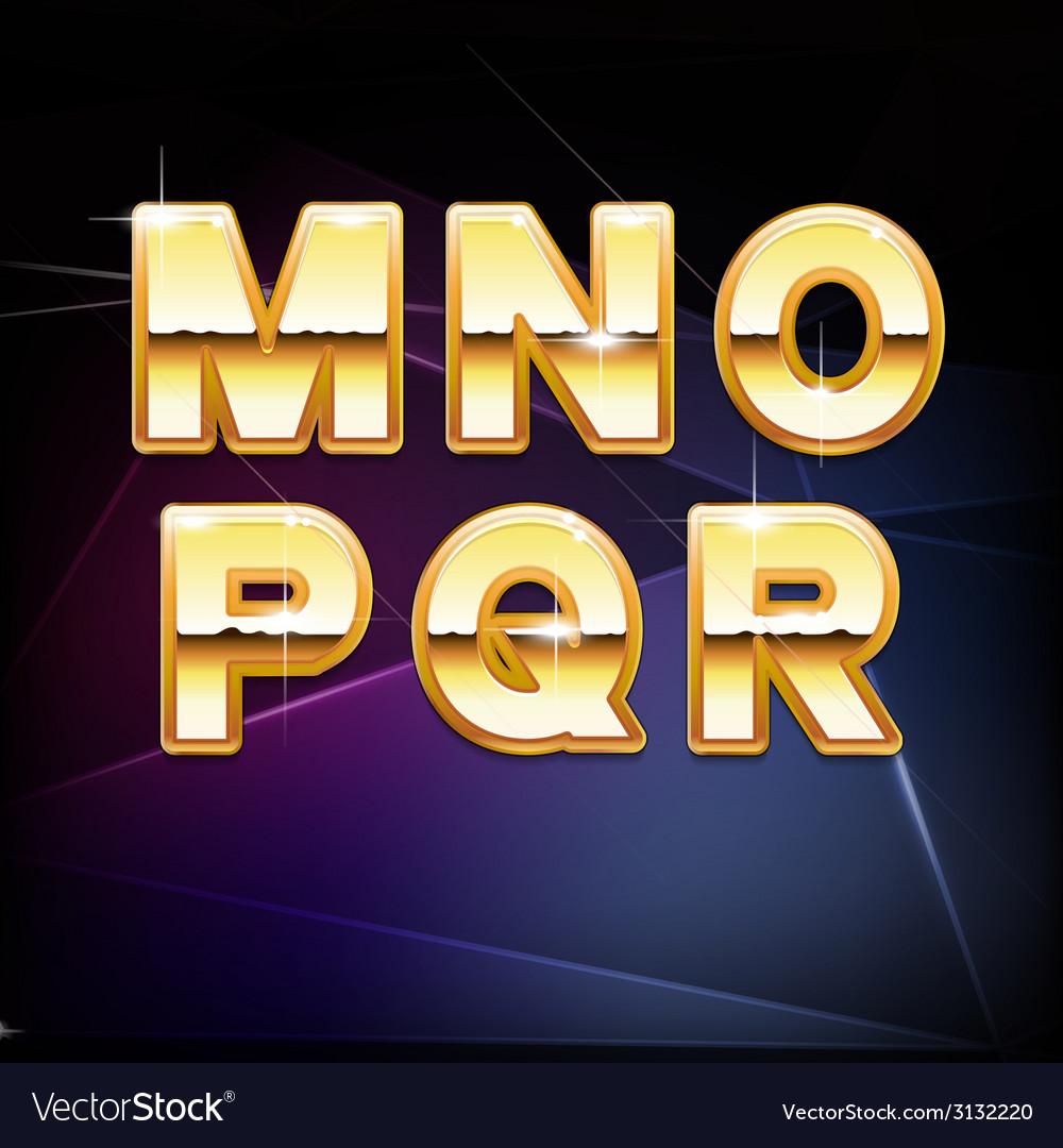 Golden shiny alphabet form m to r vector