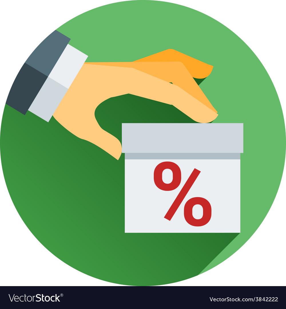 Percentage on hand web icon design vector