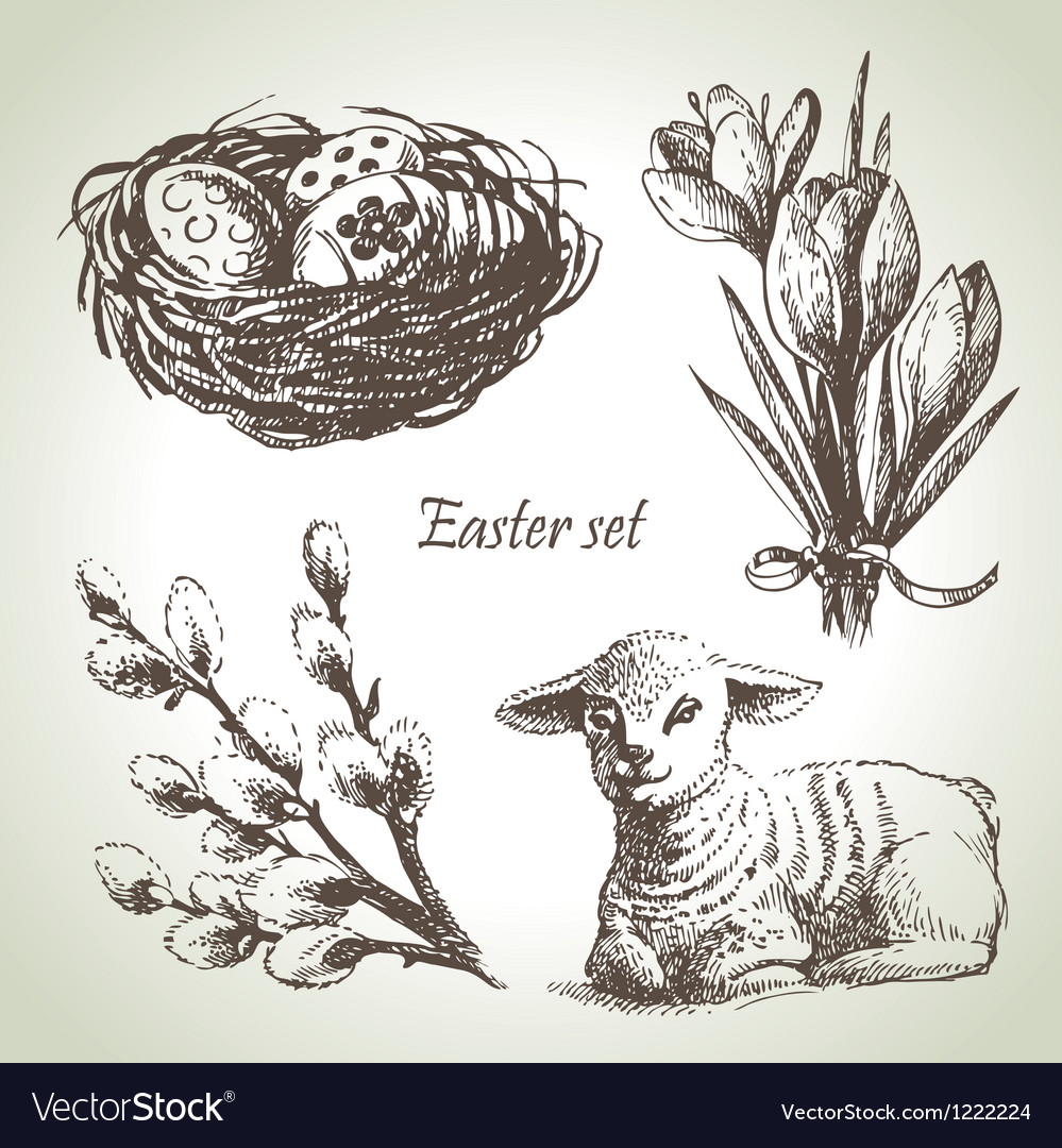 Easter set hand drawn sketch vector