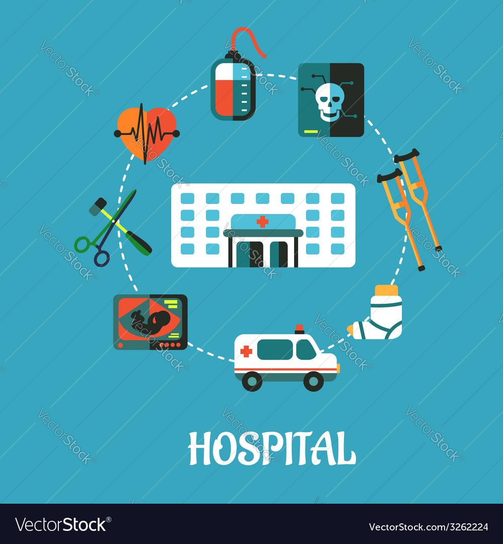 Hospital flat inforgraphic design vector