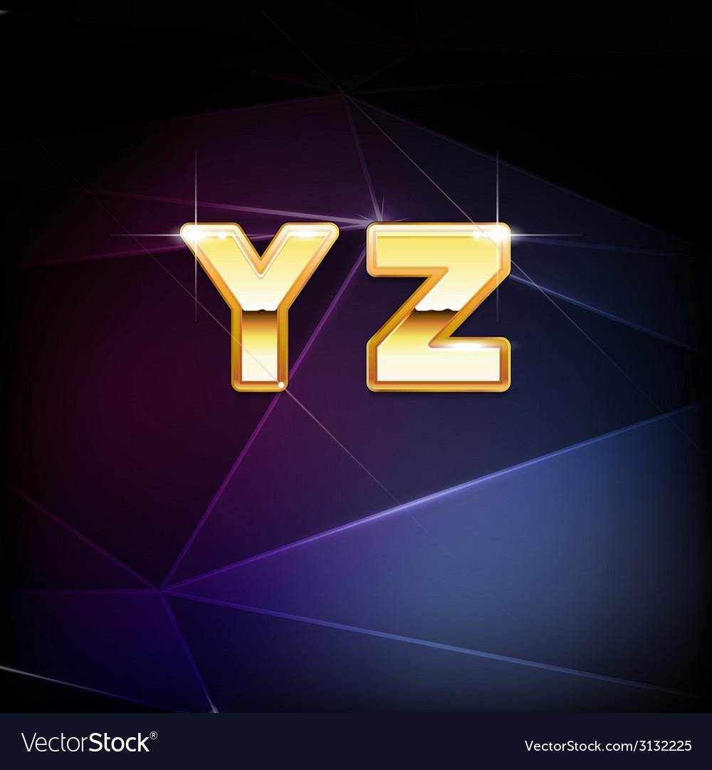 Golden shiny alphabet form y to z vector