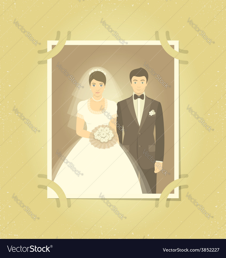 Old wedding photo in family album vector