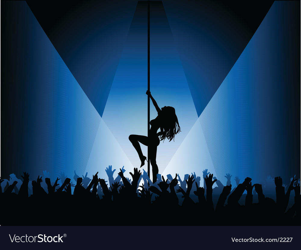 Pole dancer with crowd vector