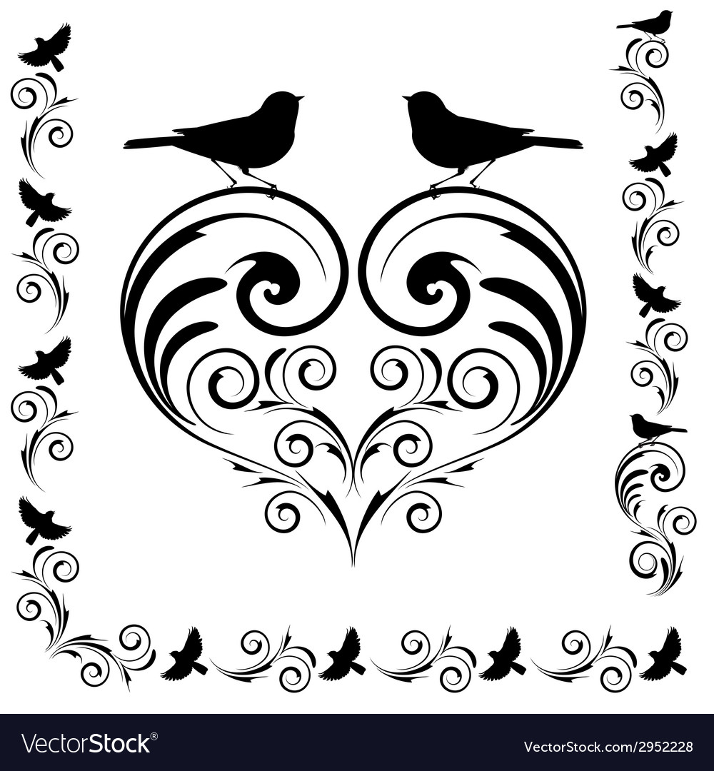 Decorative heart with birds vector