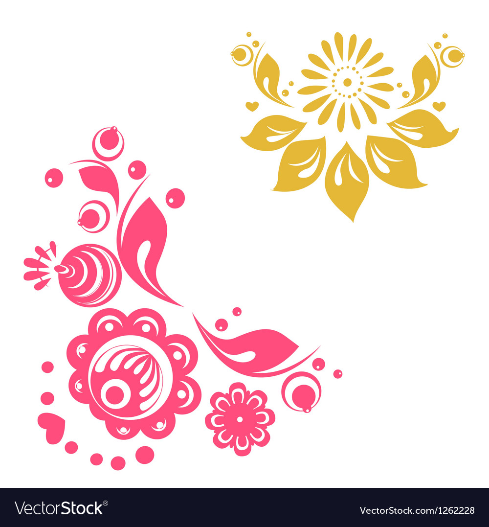 Russian floral designs vector