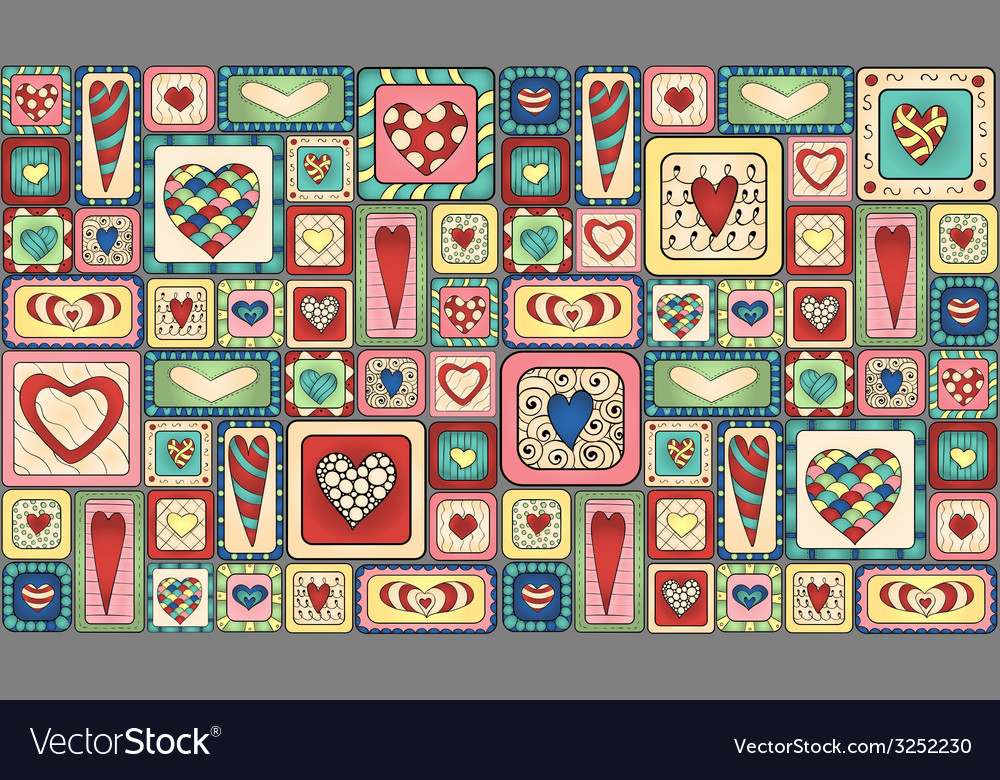 Seamless pattern of original drawing doodle hearts vector