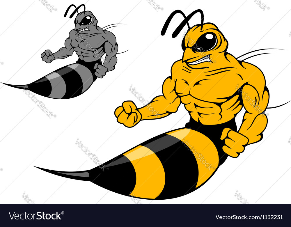 Danger yellow hornet with sting vector