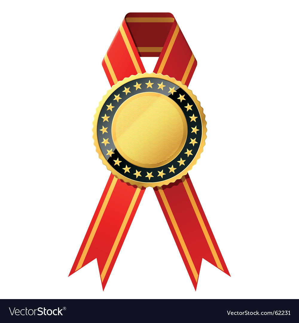 Gold badge with red ribbon vector