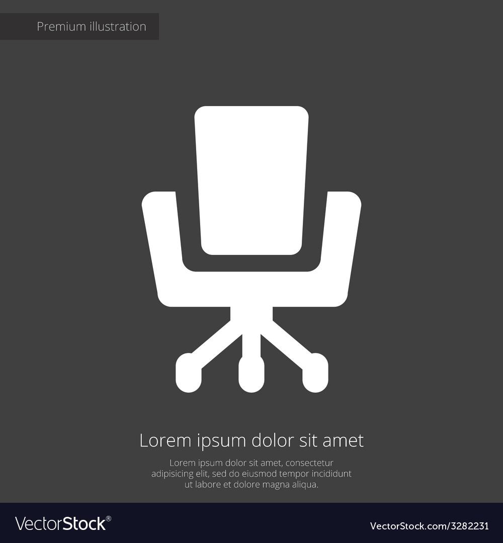 Office chair premium icon white on dark background vector