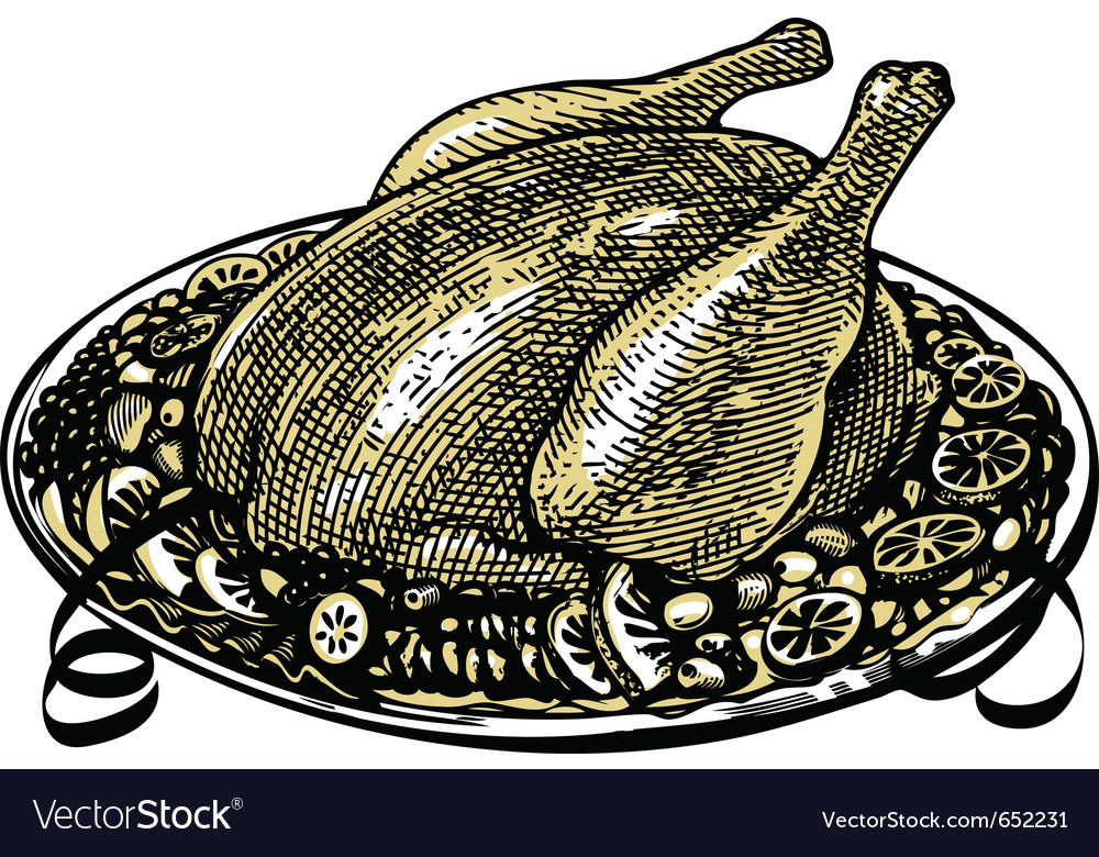 Whole roasted turkey in engraved style vector