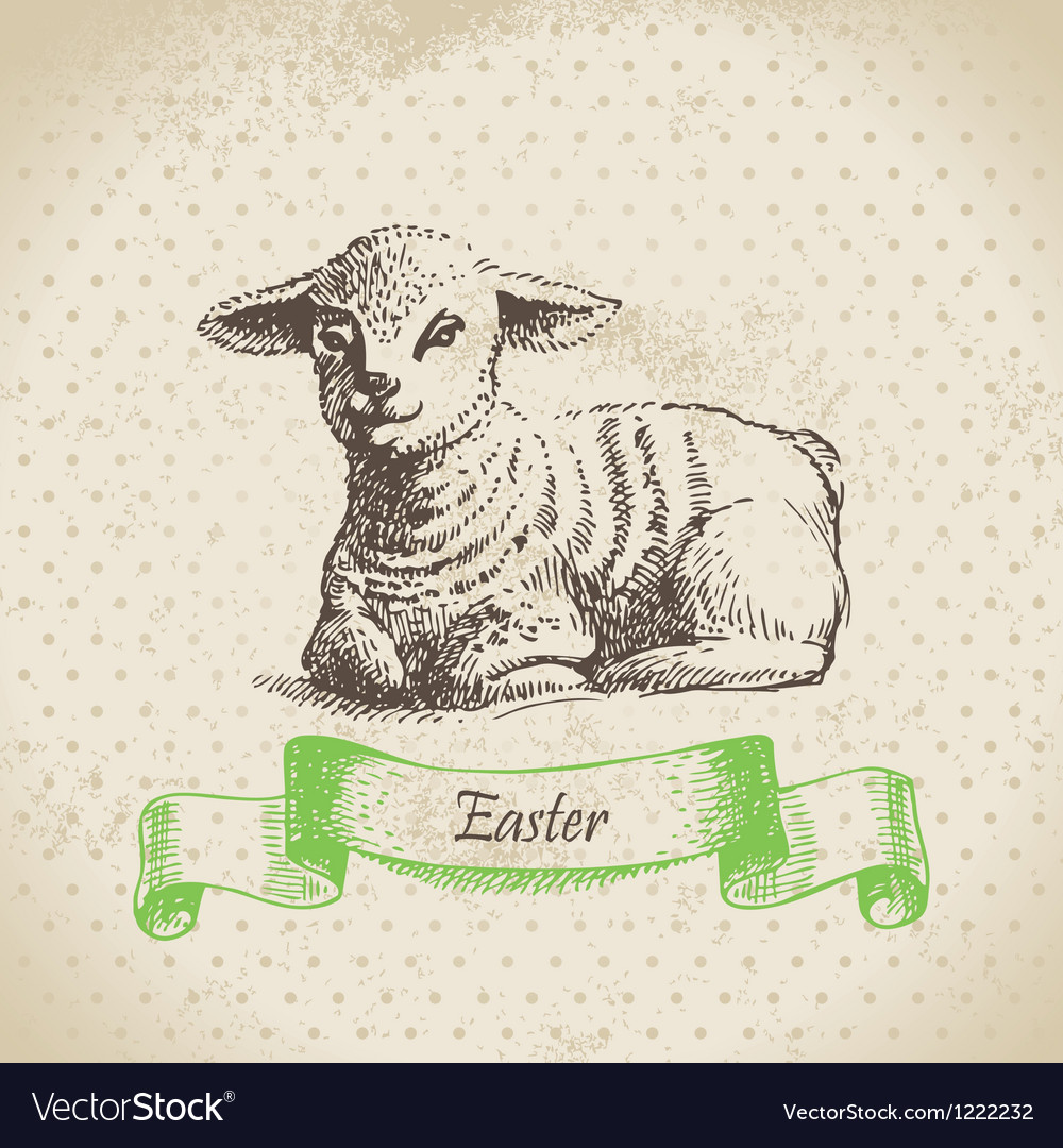 Vintage easter background with lamb vector