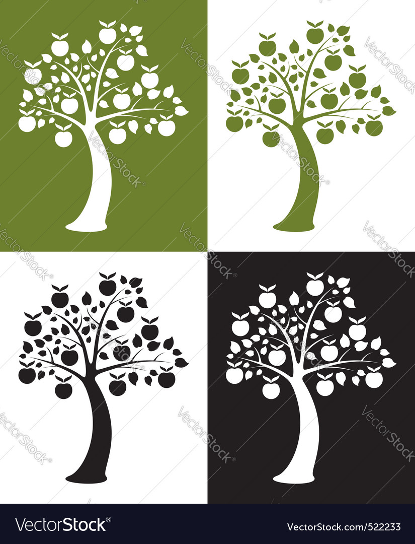 Set of apple trees vector