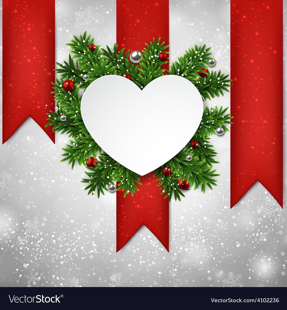White heart paper christmas card vector