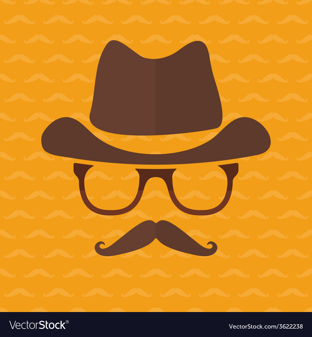 Hipster face silhouette in flat style vector