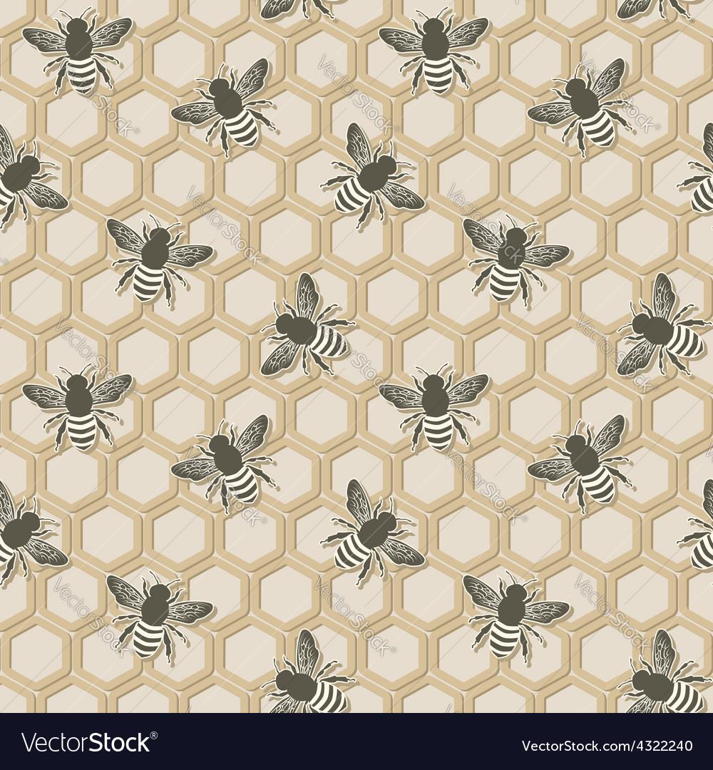 Bee seamless pattern vector