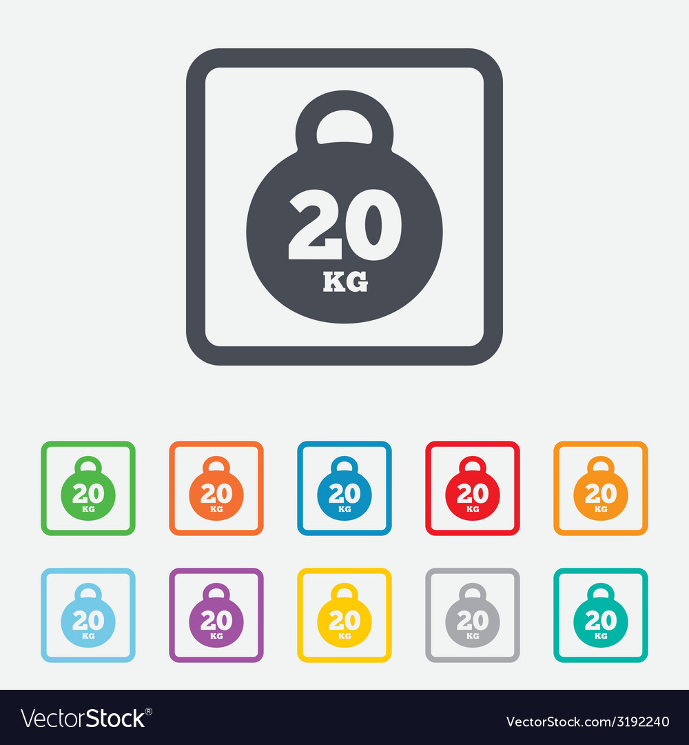 Weight sign icon 20 kilogram kg sport symbol vector