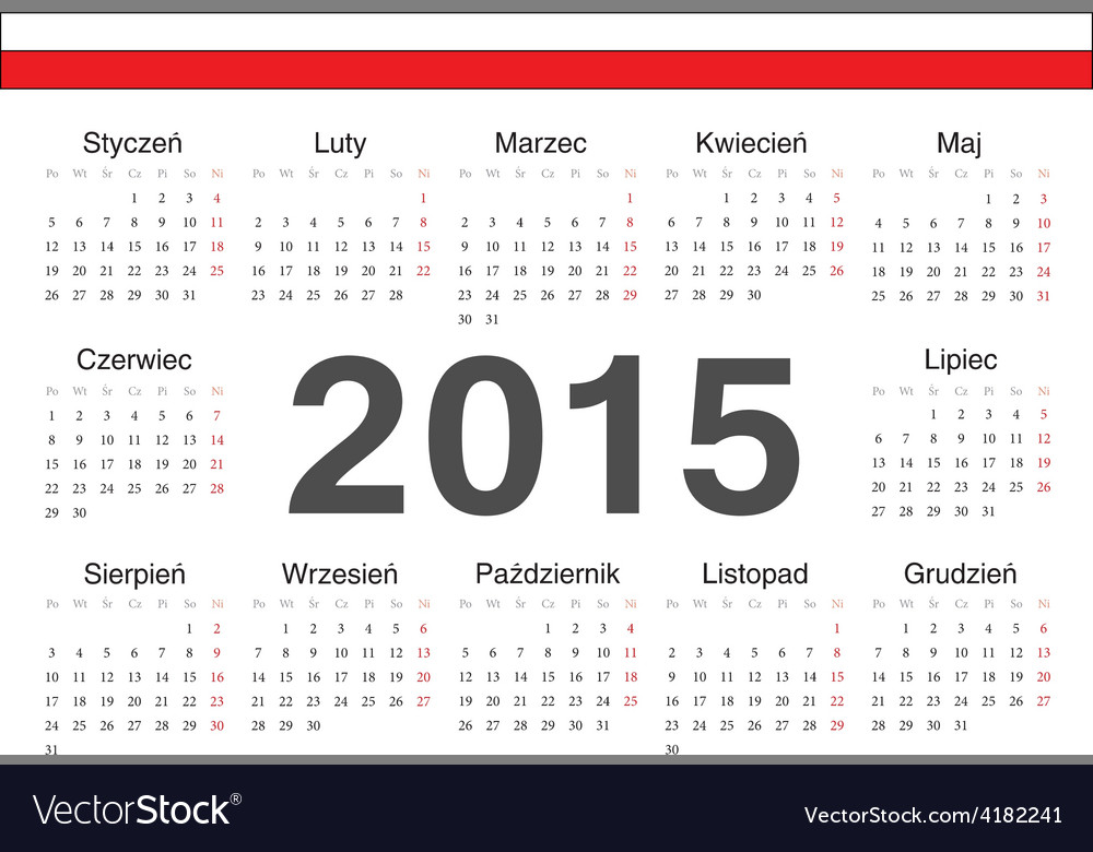 Circle polish 2015 year calendar vector