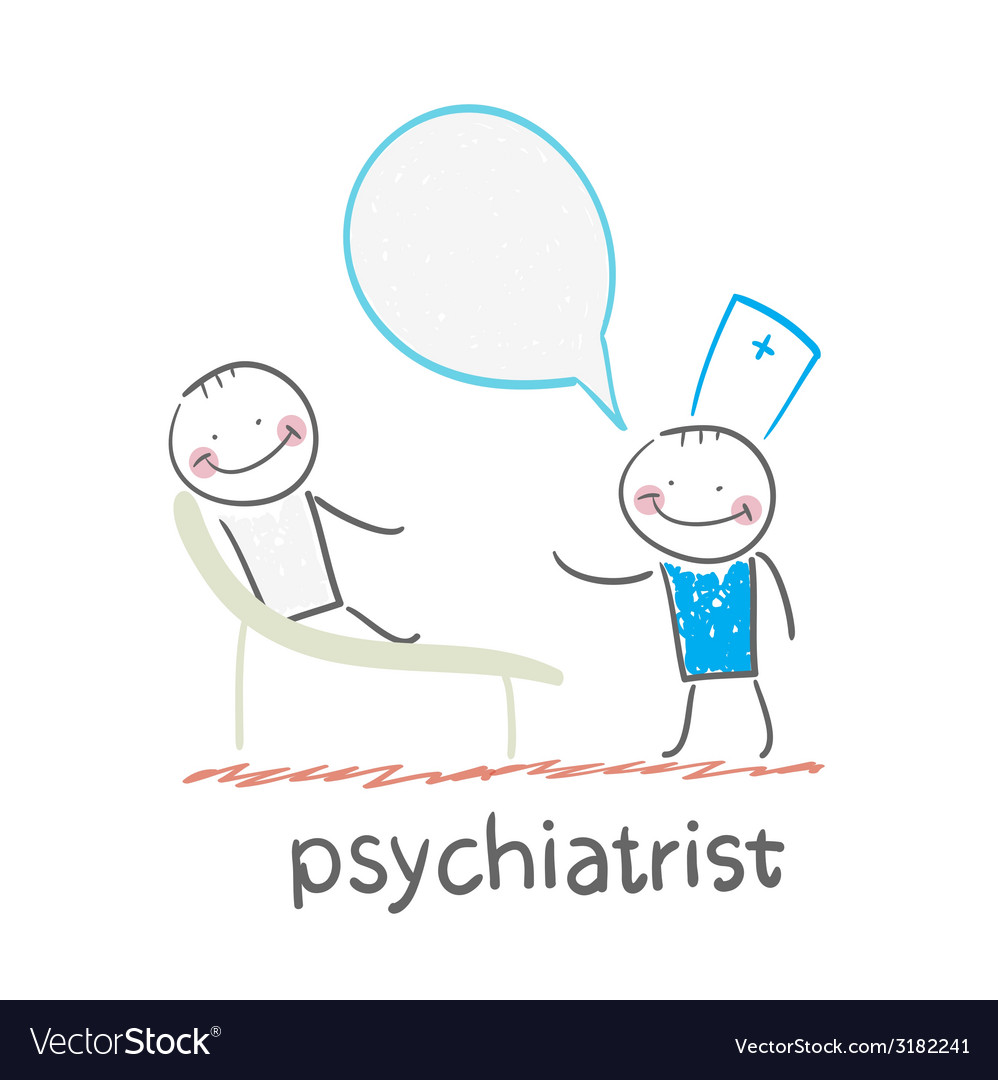 Psychiatrist says to the patient who is lying on vector