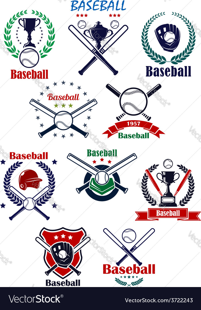 Baseball heraldic emblems or badges with vector