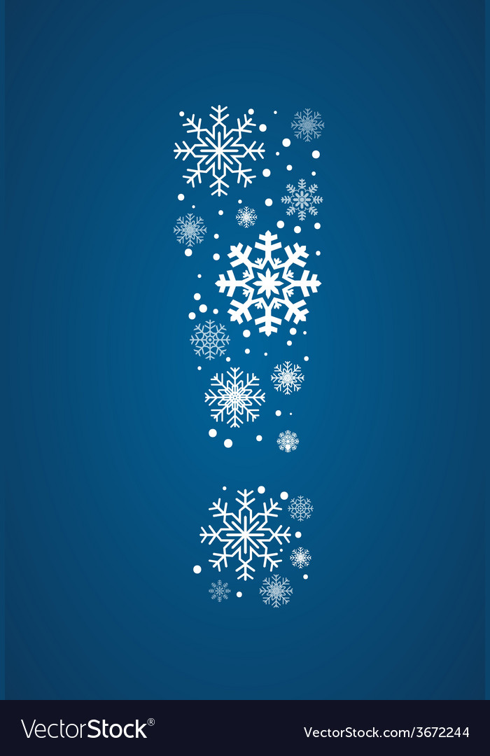 Exclamation point font frosty snowflakes vector