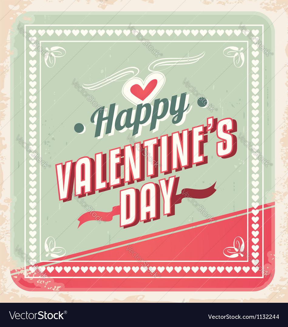 Valentines day retro card design vector