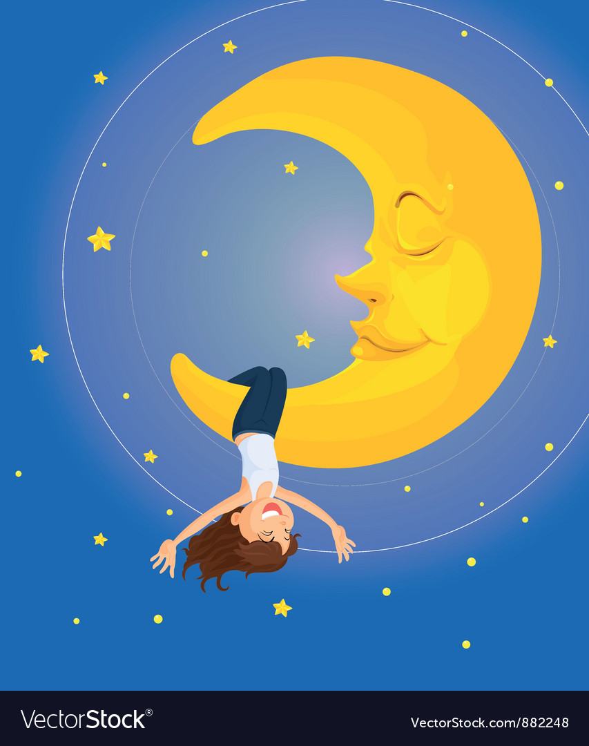 Hanging on the moon vector