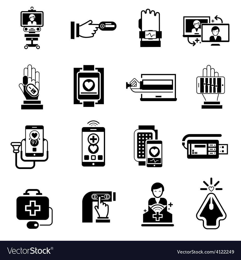Digital medicine icons black vector