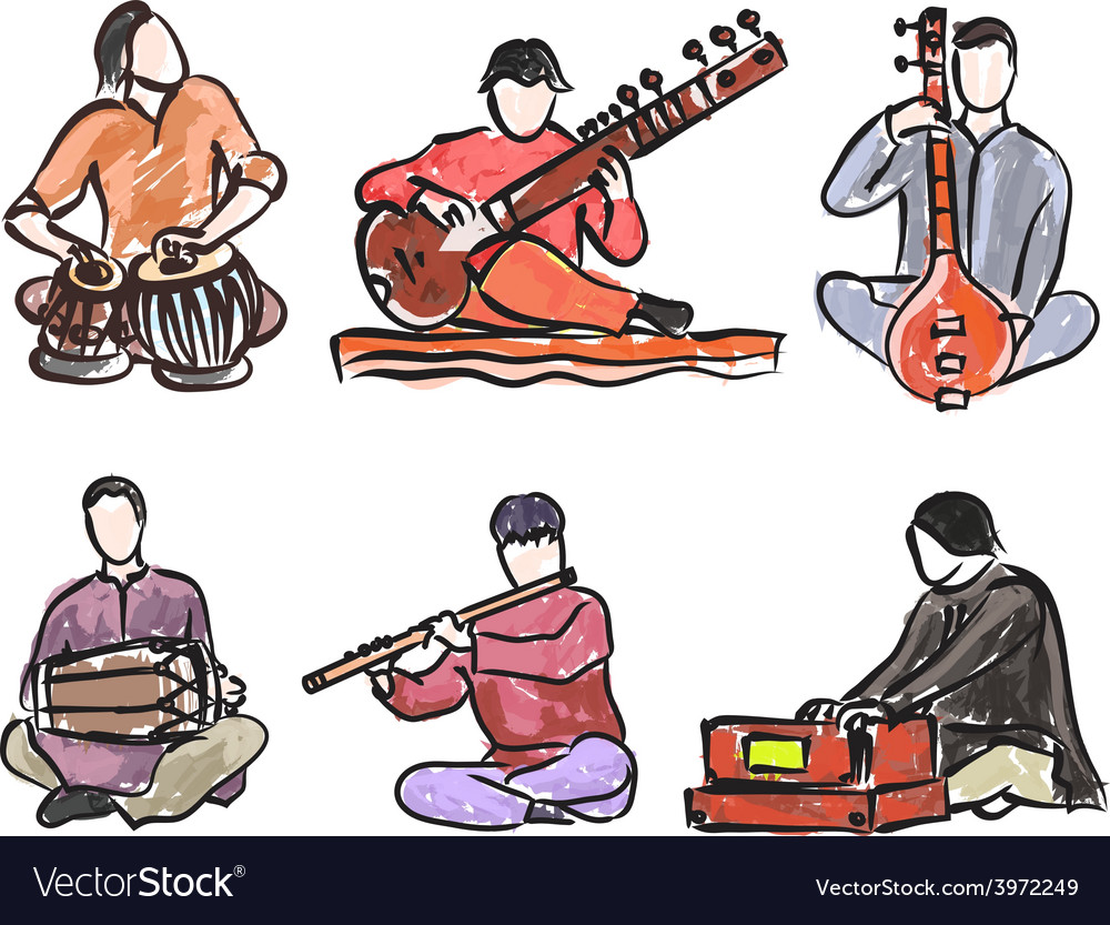 Indian musician set vector