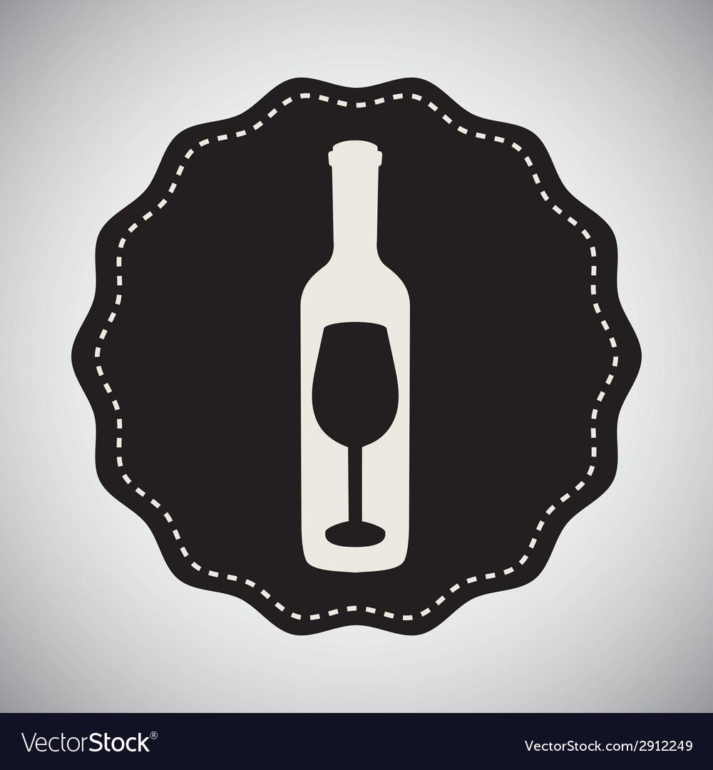 Wine bottle design vector