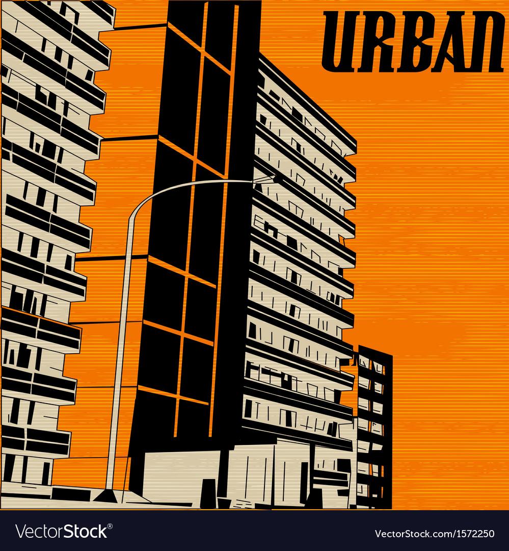 Orange urban city vector